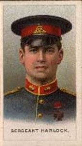 "Sgt Ernest Horlock RFA VC ""For conspicuous gallantry on 15th September, near Vendresse, when his Battery was in action under a heavy shell fire, in that, although twice wounded, he persisted on each occasion in returning to lay his gun after his wound had been dressed.—London Gazette 1915"